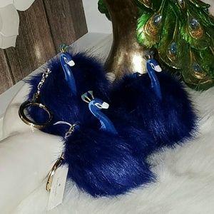 Kate spade pouf peacock keychain